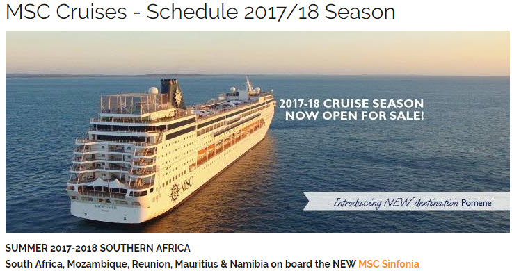 MSC Cruises Traveltime - Cruise ship packages south africa