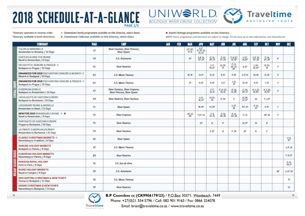 Uniworld 2018.1 Schedule