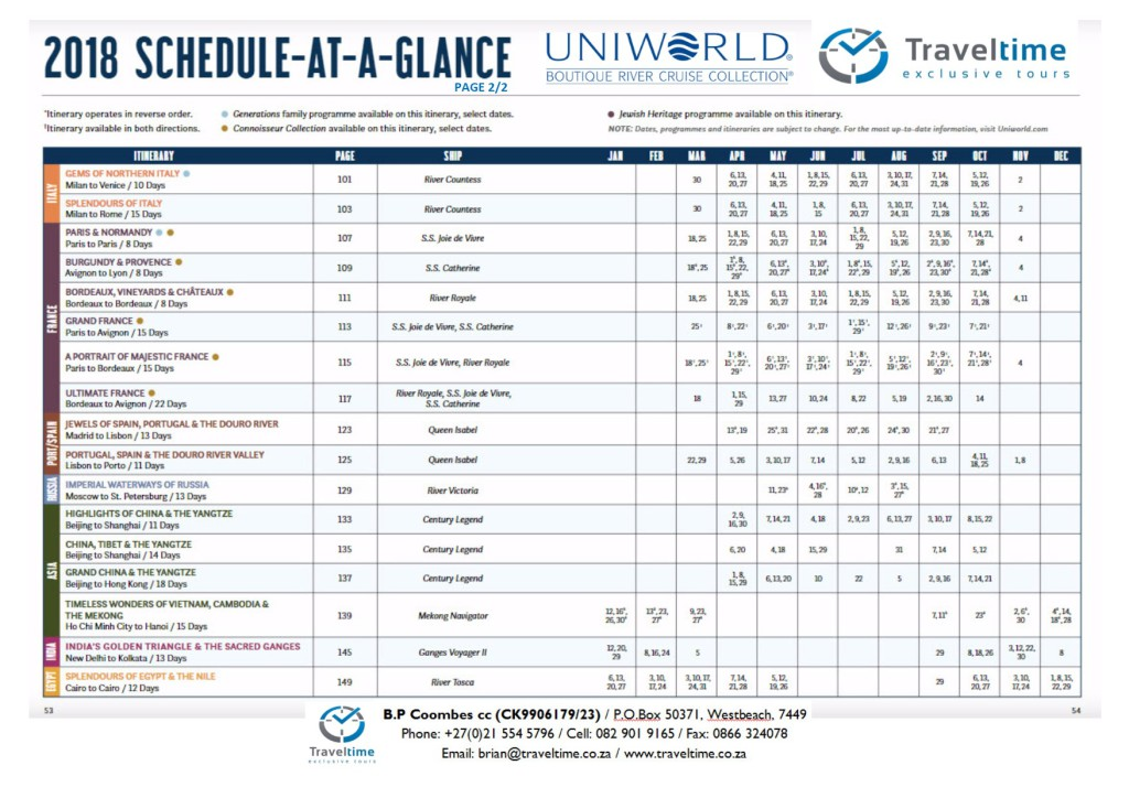 Uniworld 2018.2 Schedule